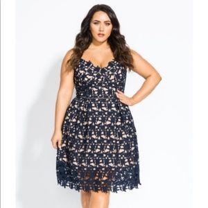 City Chic So Fancy - Navy Lace Dress
